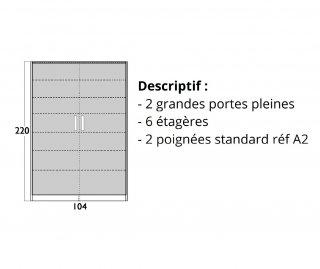 Armoire 2 portes battantes 6 étagères profondeur 47 cm