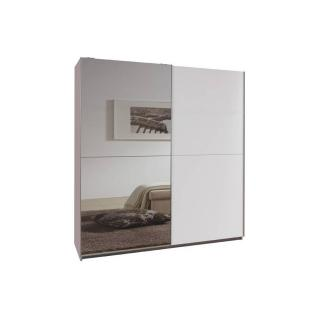 Dressing à portes coulissantes CLAPTON 135cm coloris blanc avec 1 miroir