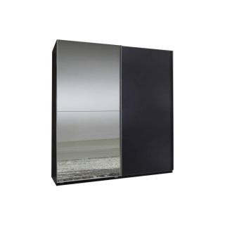 Dressing à portes coulissantes CLAPTON 135cm coloris gris avec 1 miroir