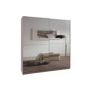 Dressing CLAPTON 135cm coloris blanc avec 2 portes coulissantes miroirs