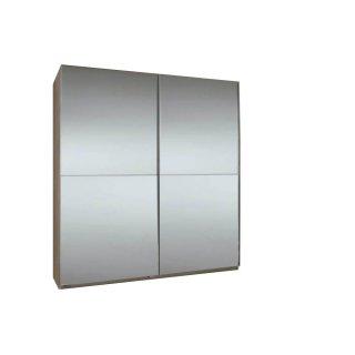 Dressing CLAPTON 135 cm façade 2 portes coulissantes miroirs structure chêne