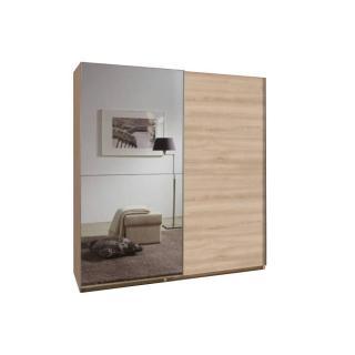 Dressing à portes coulissantes CLAPTON 180cm coloris chêne avec 1 miroir