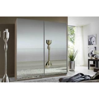 Dressing CLAPTON 180cm coloris chêne avec 2 portes coulissantes miroirs