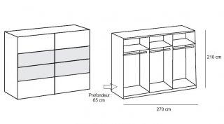 Armoire EVA portes coulissantes largeur 270 cm chêne blanchi / graphite