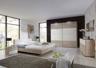 Armoire EVA portes coulissantes largeur 270 cm chêne naturel / blanc