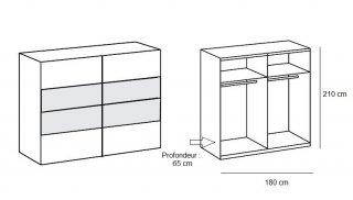 Armoire EVA portes coulissantes largeur 180 chêne châtaigne / blanc