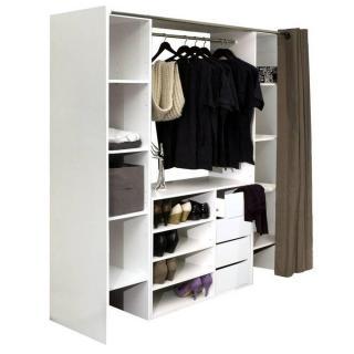 dressings et armoires meubles et rangements dressing extensible chica 2 colonnes 4 tiroirs. Black Bedroom Furniture Sets. Home Design Ideas