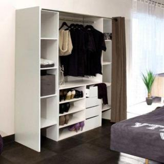 dressings et armoires meubles et rangements dressing extensible chica 2 colonnes 4 tiroirs. Black Bedroom Furniture Sets. Home Design Ideas
