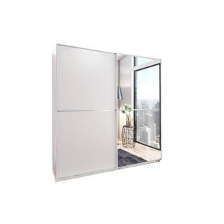 Dressing à portes coulissantes HENDRIX 135cm coloris blanc avec 1 miroir