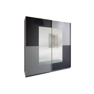 Dressing portes coulissantes JAGGER 179 cm coloris gris graphite / aluminium