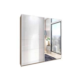 Dressing à portes coulissantes NIKKI 180cm coloris blanc cassé/chêne avec 1 miroir