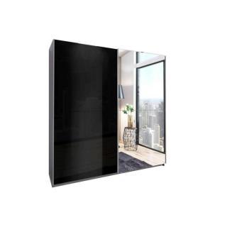 Dressing à portes coulissantes NIKKI 180cm coloris noir brillant/aluminium avec 1 miroir