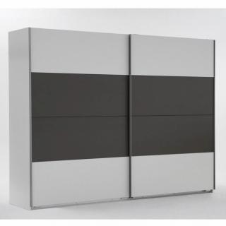 Armoire 2 portes blanc/gris
