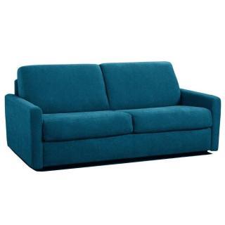 Canapé lit express ECLIPSE ELITE tweed bleu sommier lattes 140cm assises et matelas mémoire de forme