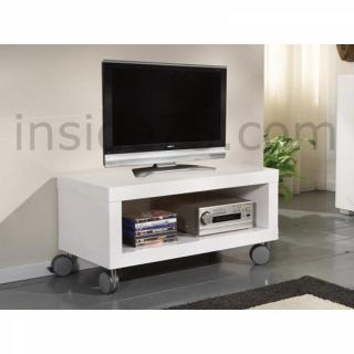 Meuble TV design mobile ELEGANCE avec rangements laqué blanc brillant