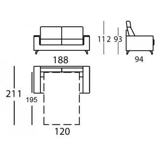 Canapé 2-3 places EMPIRE convertible ouverture EXPRESS 120*195*12cm