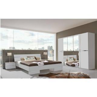 Chambre à coucher CARAMELLA blanche couchage 140x190 cm