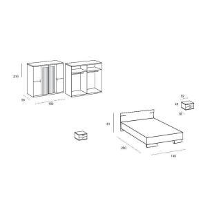 Chambre à coucher CARAMELLA chêne blanc