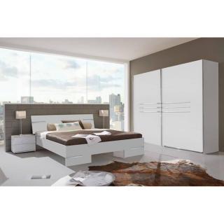 Chambre à coucher CARAMELLA blanche couchage 160x200 cm