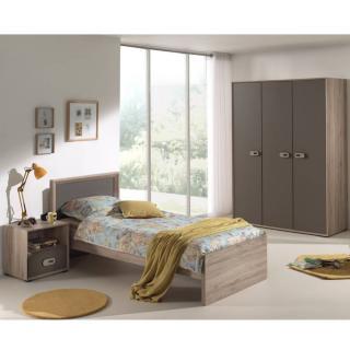 Ensemble chambre enfant AMAURY chêne/marron 3 éléments couchage 90 x 200cm