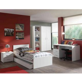 Ensemble chambre enfant lit gigogne AYA 6 éléments blanc 90 x 200cm