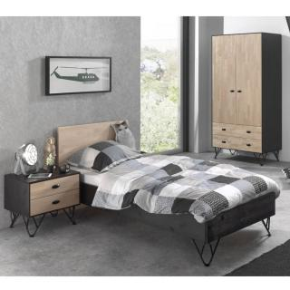 Ensemble chambre à coucher design GABIN 90cm en bois massif 3 éléments