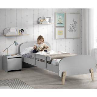 Ensemble chambre enfant INFINI gris avec barrière de lit couchage 90 x 200cm