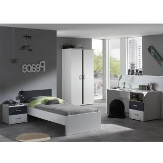 Ensemble chambre enfant SOAN 4 éléments blanc/gris couchage 90 x 200cm