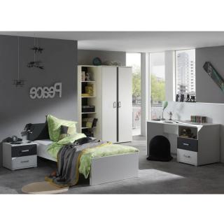 Ensemble chambre enfant SOAN 5 éléments blanc/gris couchage 90 x 200cm