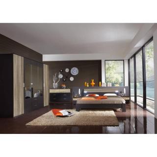 Chambre à coucher DAKOTA 180*200cm lave/chêne sauvage avec éclairages Led