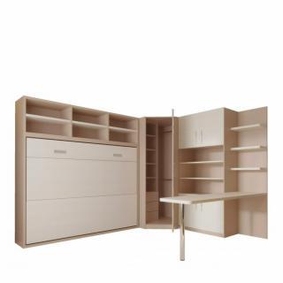 Composition armoire lit transversale SKYROS 140 X 200 cm avec rangements et bureau intégré