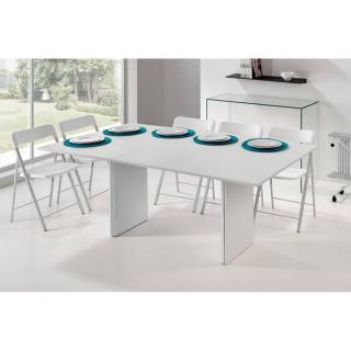 Ensemble lot de 10 chaises blanche console en verre transparent et console extensible PROTEO GLASS blanc mat