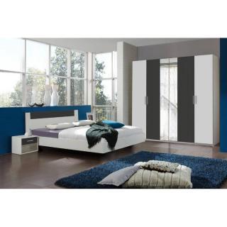 Chambre à coucher THALIA blanche/anthracite couchage 140x190 cm