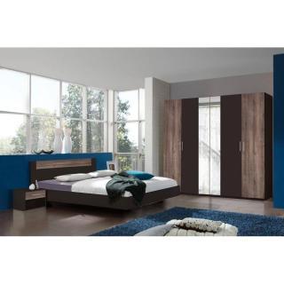 Chambre à coucher THALIA lave/châtaigne couchage 140x190 cm