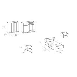 Chambre à coucher THALIA blanche/anthracite 140*200cm