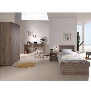 Ensemble chambre enfant AMAURY chêne/marron 4 éléments couchage 90 x 200cm