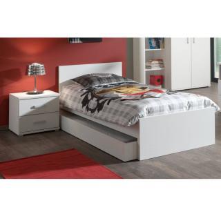 Ensemble chambre enfant lit gigogne AYA 3 éléments blanc couchage 90 x 200cm