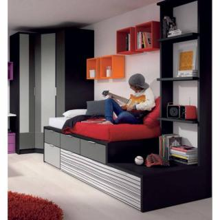 Ensemble lit gigogne compact IBERIS avec 4 tiroirs et 2 couchages 90 x 190 armoire d'angle et bibliothèque 4 étagères