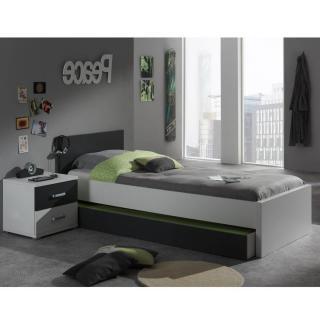 Ensemble chambre enfant lit gigogne SOAN 3 éléments blanc/gris couchage 90 x 200cm