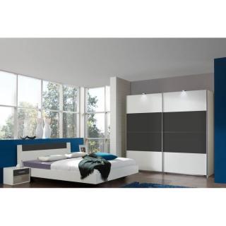 Chambre à coucher THALIA blanche/anthracite couchage 140x200 cm
