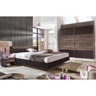 Chambre à coucher THALIA lave/châtaigne couchage 140x200 cm