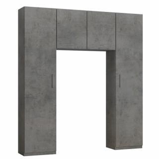 Ensemble de rangement pont 2 portes gris béton largeur 200 cm