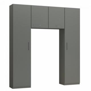 Ensemble de rangement pont 2 portes gris graphite mat largeur 200 cm