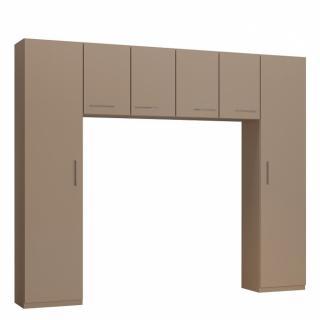 Ensemble de rangement pont 4 portes taupe mat largeur 270 cm