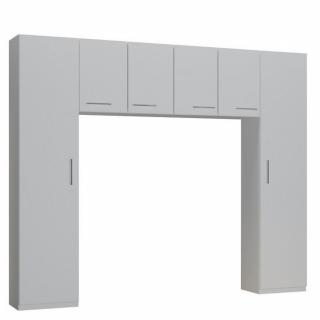 Ensemble de rangement pont 4 portes blanc mat largeur 250 cm