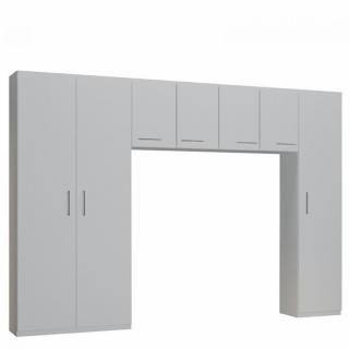 Ensemble de rangement pont 4 portes blanc mat largeur 320 cm