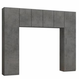 Ensemble de rangement pont 4 portes gris béton largeur 270 cm