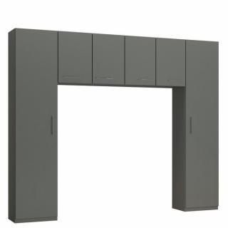 Ensemble de rangement pont 4 portes gris graphite mat largeur 270 cm