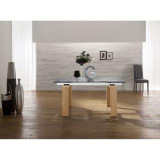 EPSYLON Table repas extensible en verre transparent, piétement bois