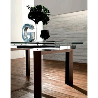 EPSYLON Table repas extensible en verre, piétement bois teinté chocolat